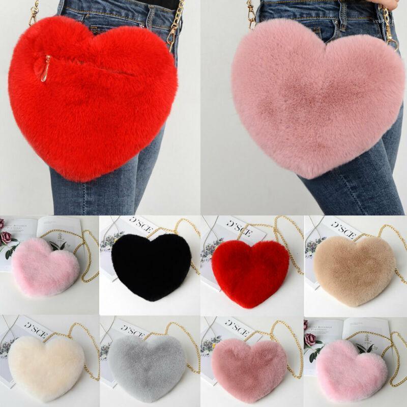Nova Moda Saco Coração-Em forma de Cadeia Dia Ombro Messenger Valentine Amor Mulheres Saco De Partido Pelúcia Peludo Gift1 Jgugr