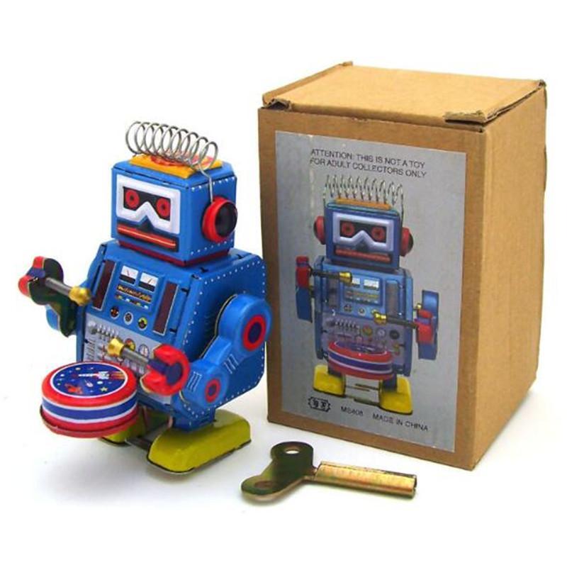 brinquedos em todo o mundo Hot Selling Clockwork Vintage Mecânica Wind Up metal Robot Tin Coleção Adulto Toy presente passeio dos miúdos