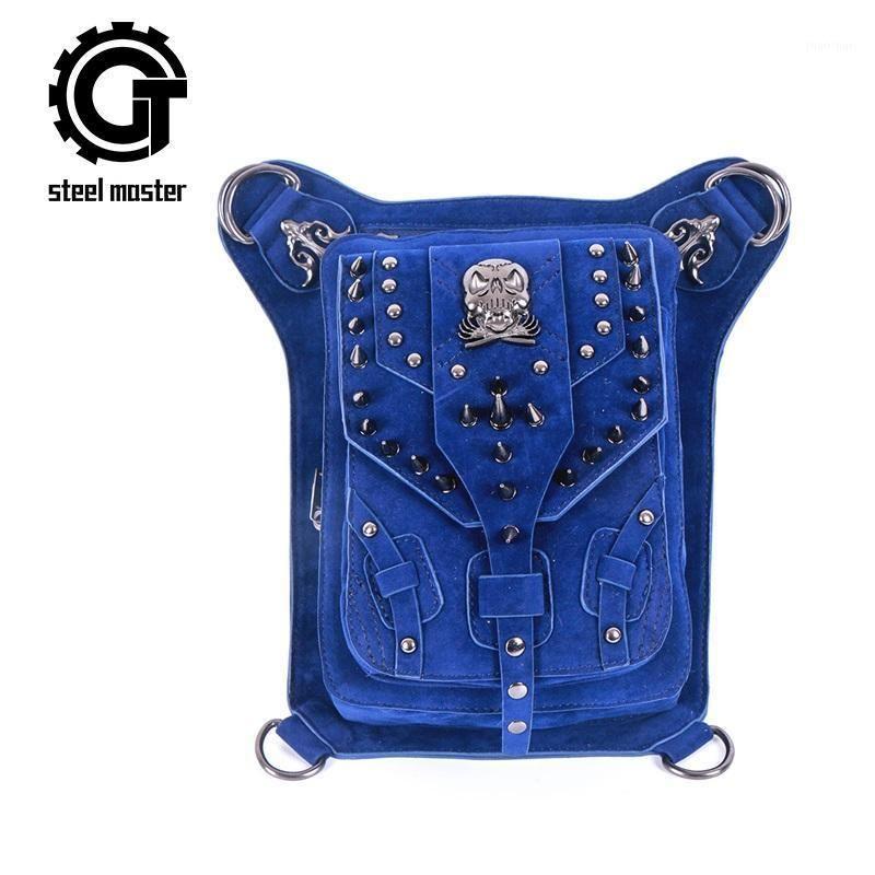 Sacos de Crânio Steampunk Vintage Sacos Retro Rebites Rebites Saco De Cintura Homens Mulheres Gótico Couro Motocicleta Crossbody Bags1