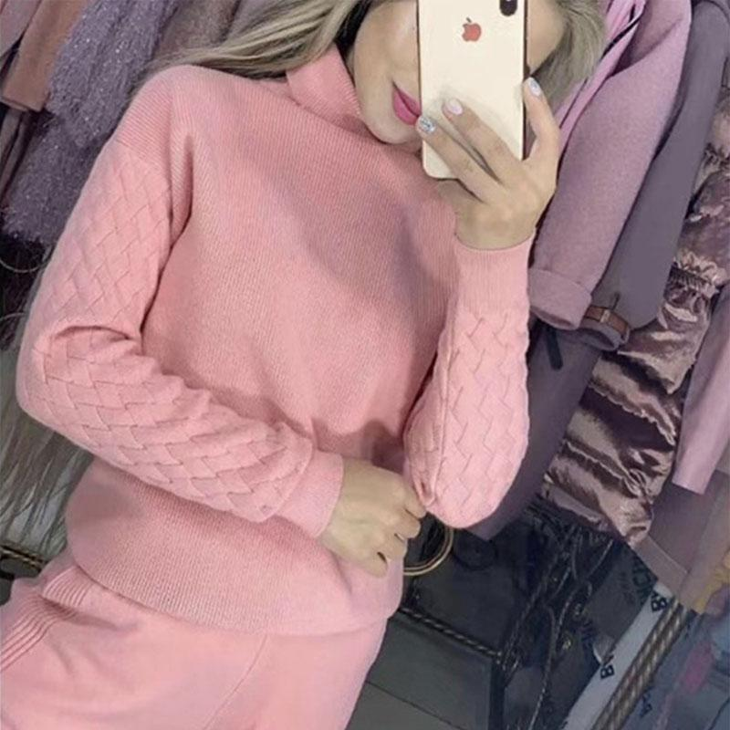 New Autumn Winter Lady Pullover Drawstring Full Length Pants 2 Piece Set Women Fashion Turtleneck Knitted Sweater Set