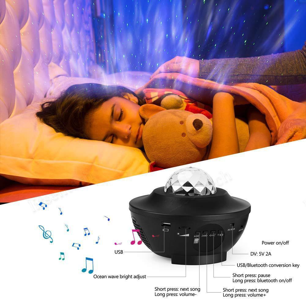 Müzik Bluetooth Uzaktan Kumanda Çocuk Hediye ücretsiz gemi ile Galaxy Yıldızlı Gece Lambası LED Yıldız Projektör Gece Işığı Okyanus Dalga Projektör
