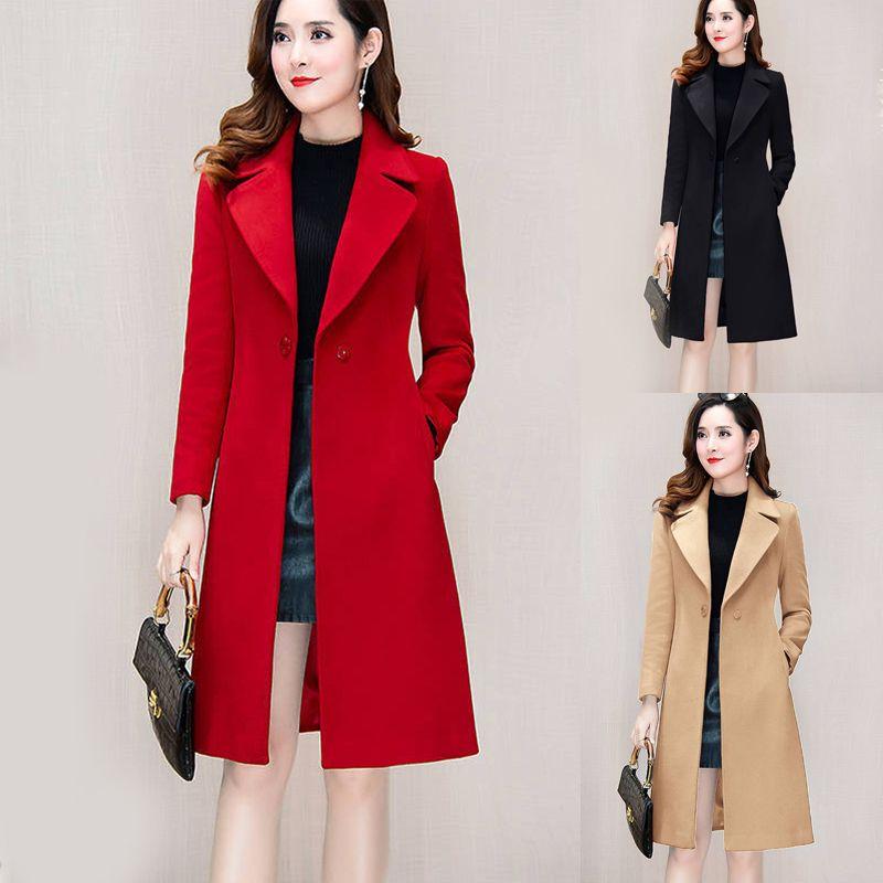 Women Woolen Overcoat Mid Longueur moyenne sur le genou Automne Hiver Taille de la taille Collier Rouge Laine Black Kaki Manteau 200923
