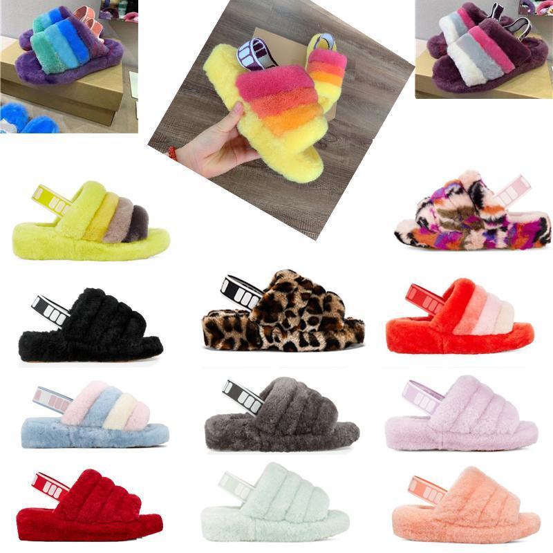 2019 2020 botas australianas niños zapatillas de diseño WGG las mujeresuggs peludo pelusa zapatilla sí diapositivas Pantoufles sandalias de piel de lujo 0 # V1vO