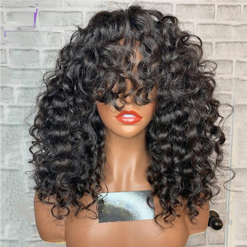 Afro Curly 5*5 Silk Top Lace Front Wig with Bangs Pre Plucked Hairline Malaysian Human Hair Short Kinky Curly Lace Wig for Women