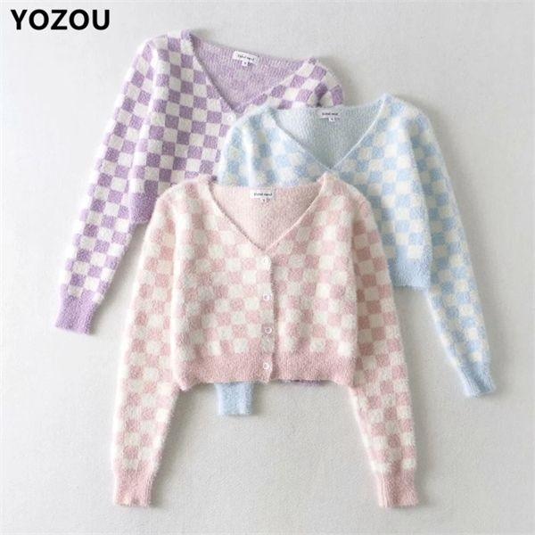Les femmes v-cou automne kawaii doux mignon cru damier plaid rose violet bleu simple boutonnage Cardigan pull C1024