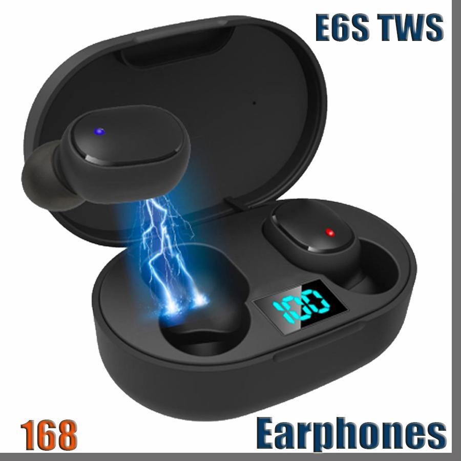 168D E6S TWS 블루투스 5.0 무선 이어폰 LED 비즈니스 스테레오 헤드폰 미니 스포츠 이어 버드 게임 헤드셋 PK A6S 헤드셋
