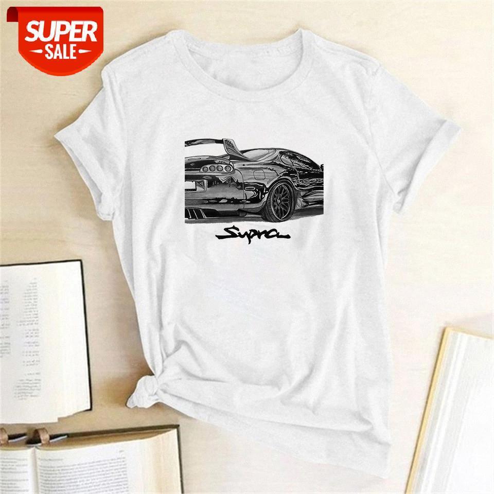 Araba Yarış Ptinting Kadın T-shirt Kısa Kollu Rahat Yaz T-shirt Femme Kadınlar 2020 Bayanlar Mujer Camisetas # Op5g için Giysileri Tops