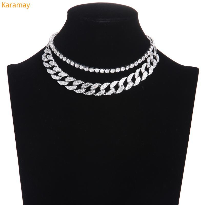 Cuban Link Chain Iced Out Rhinestone Choker Women Layered Necklace Set 2021 Sparkly Jewelry Luxury Chocker Jewellery Accessories