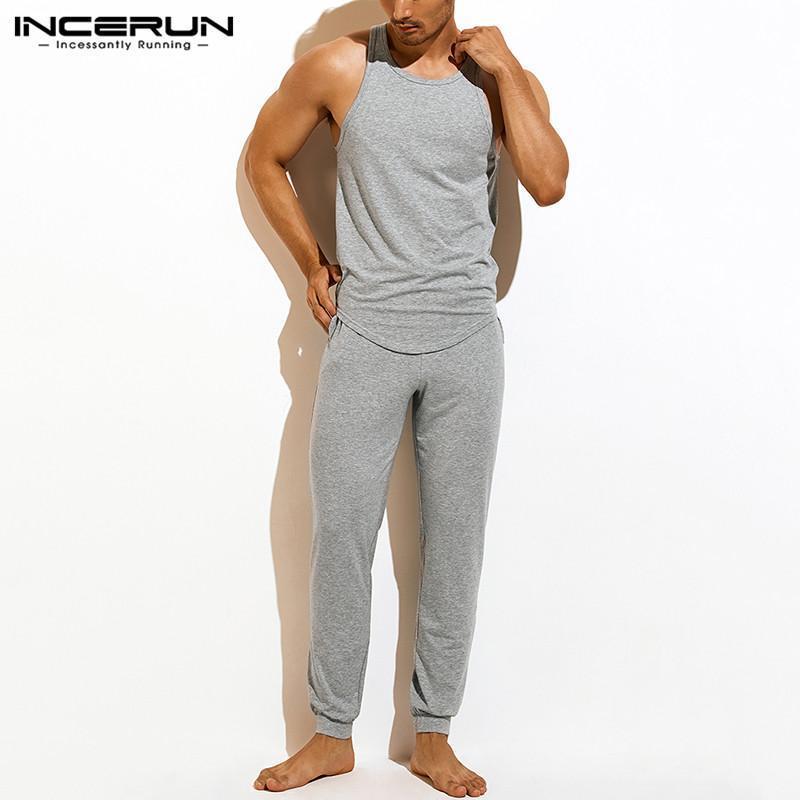 Incerun мужчина сплошной цвет пижамы наборы досуга без рукавов o шеи эластичные талии брюки домашняя одежда 2 шт. Мужчины уютные спящие костюм 5xl