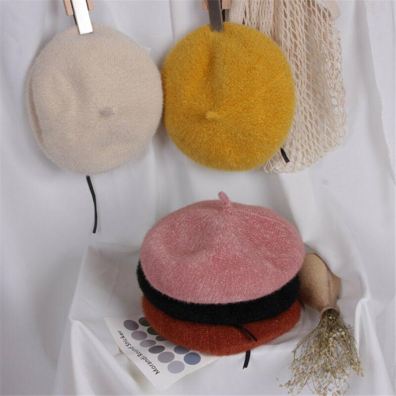 Mode-Kind-Kind-Hut-Mädchen stilvoller Beret Herbst-Winter-Warm Plain Beanie Schirmmütze