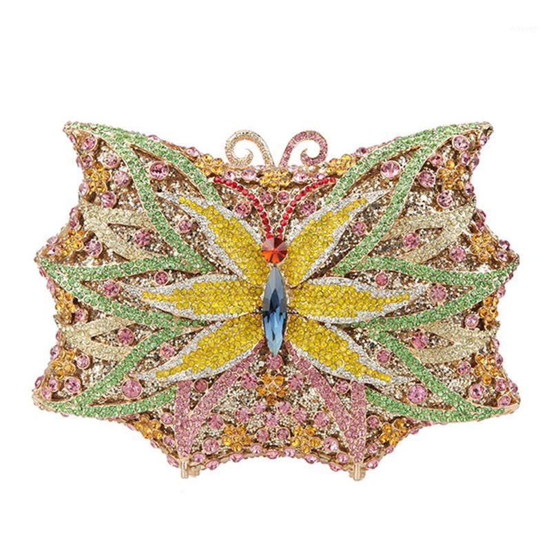 Xiyuan Butterfly Shape Donne Borsa da sposa Multi-Color Crystal Donne Borse da sera Clutch Luxury Ladies Diamond Mini Minadiere1