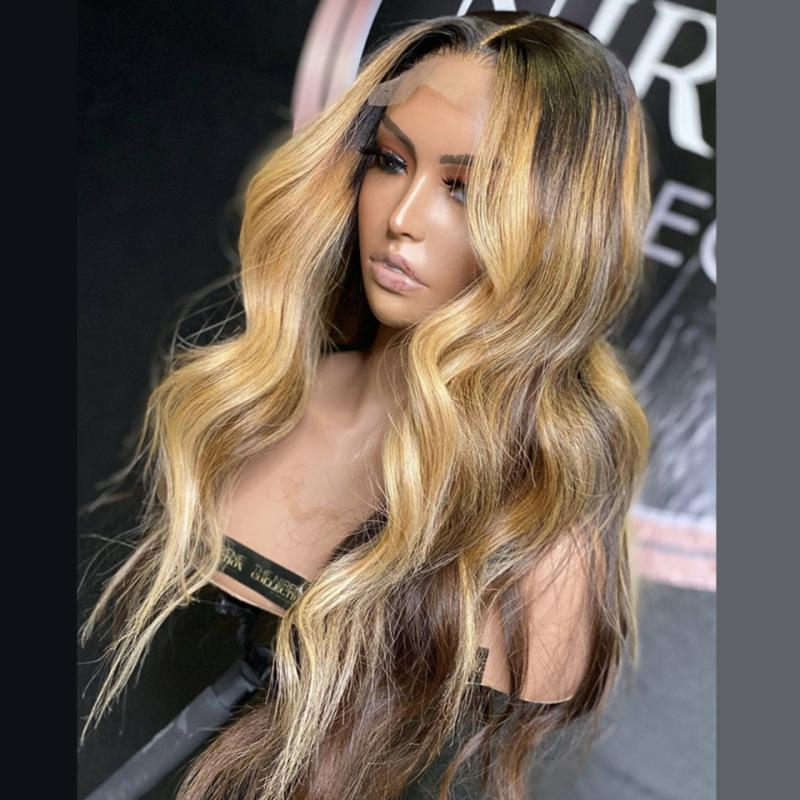 Ombre Highlight Wig Brown Honey Blonde Colored 5*5'' Silk Base Lace Front Human Hair Wigs Body Wave T Part Lace Frontal Wig Remy