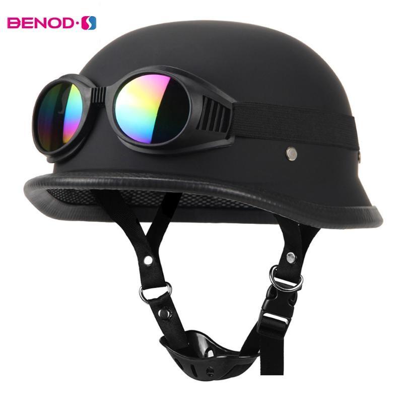 New Leather Motorcycle Helmet Motorcycle Open Face Half Helmet Motocross Scooter DOT BLACK Capacete De Motocross