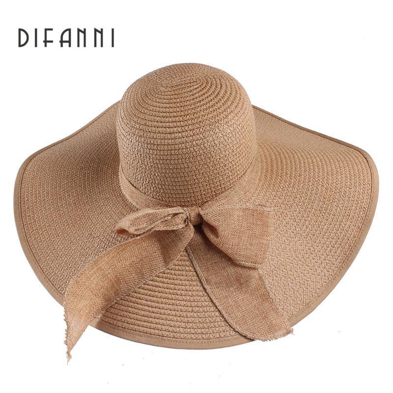 Широкие Hats Hats Difanni Высокое Качество Летнее Солнце для Женщин Сплошная Большая Бабочка Галстук Бабочка Флоппи Дамской Шляпа