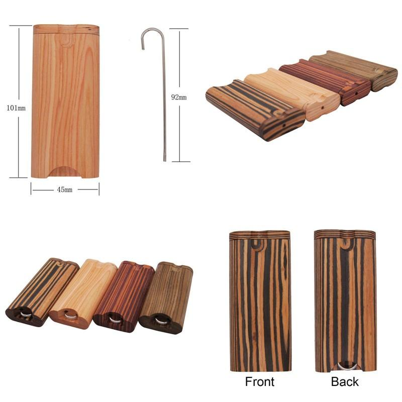 Wood Smoking Pipe Kit Rotating Cover With Hook 4 Colors Dry Herb Cigarette Box Curved pipes Case Popular Hot Sale 15bt G2