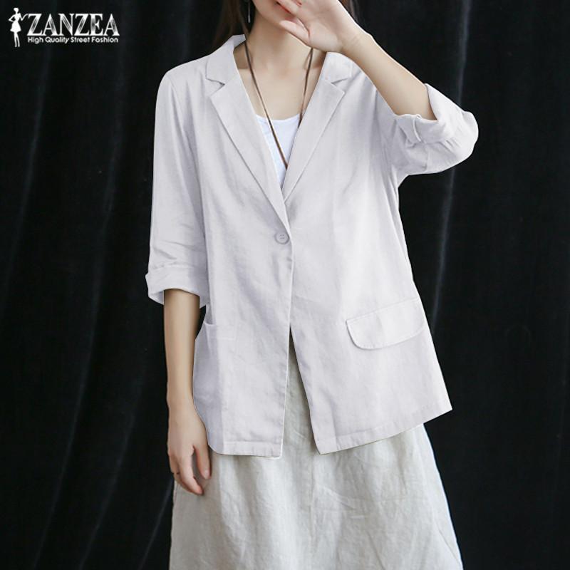 Blazers ZANZEA 2020 Zarif Coats Moda 3/4 Kol Gömlek Outwaer Kadın Tek düğmeli ceketler Artı boyutu Pamuk Tunik