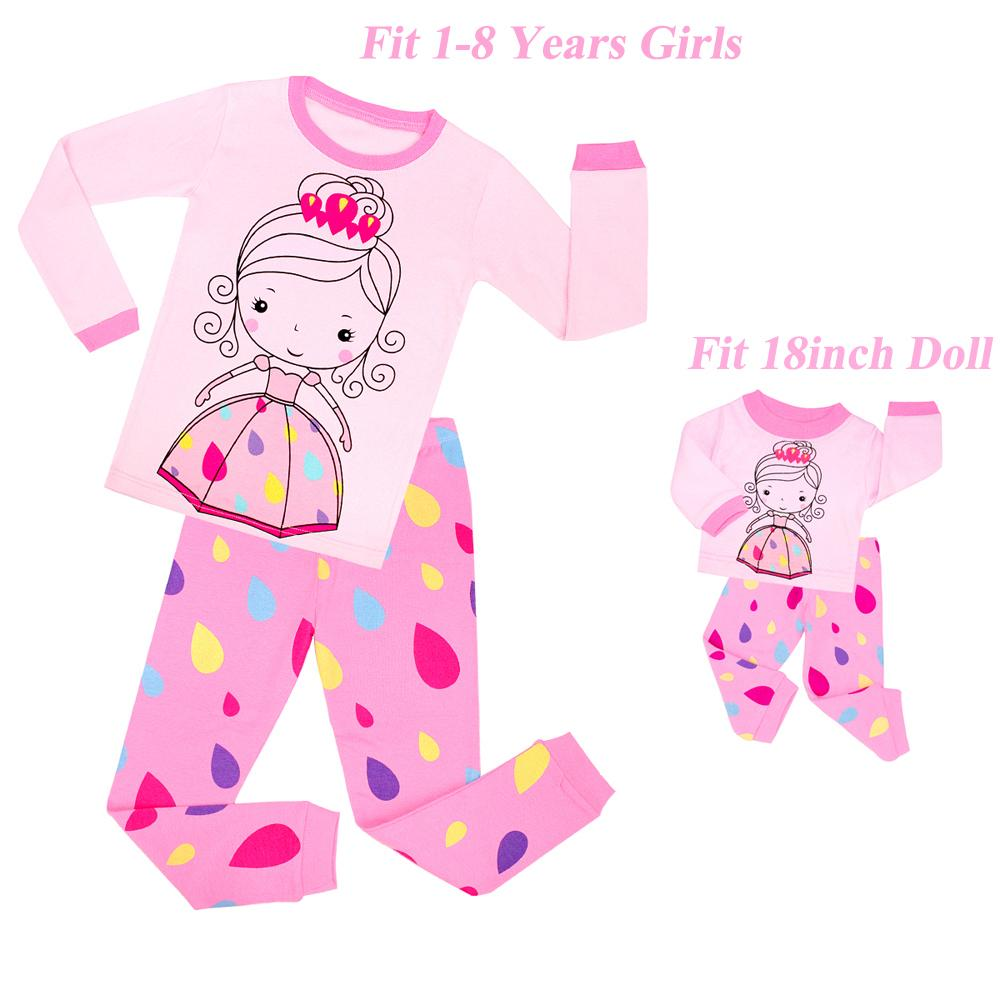 Nueva Matching GirlsDoll gota de agua Impresión princesa pijama para niños camisones de algodón ropa de bebé pijamas de los niños Pijamas Infantil 201104