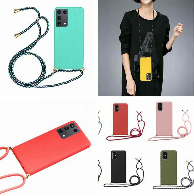 Weiche TPU-Hülle für Samsung S21 Plus Ultra 5G A51 A21S S20 FE Huawei p Smart 2020 Lanyard Halsband einstellbar Telefon Schutzrückdeckel