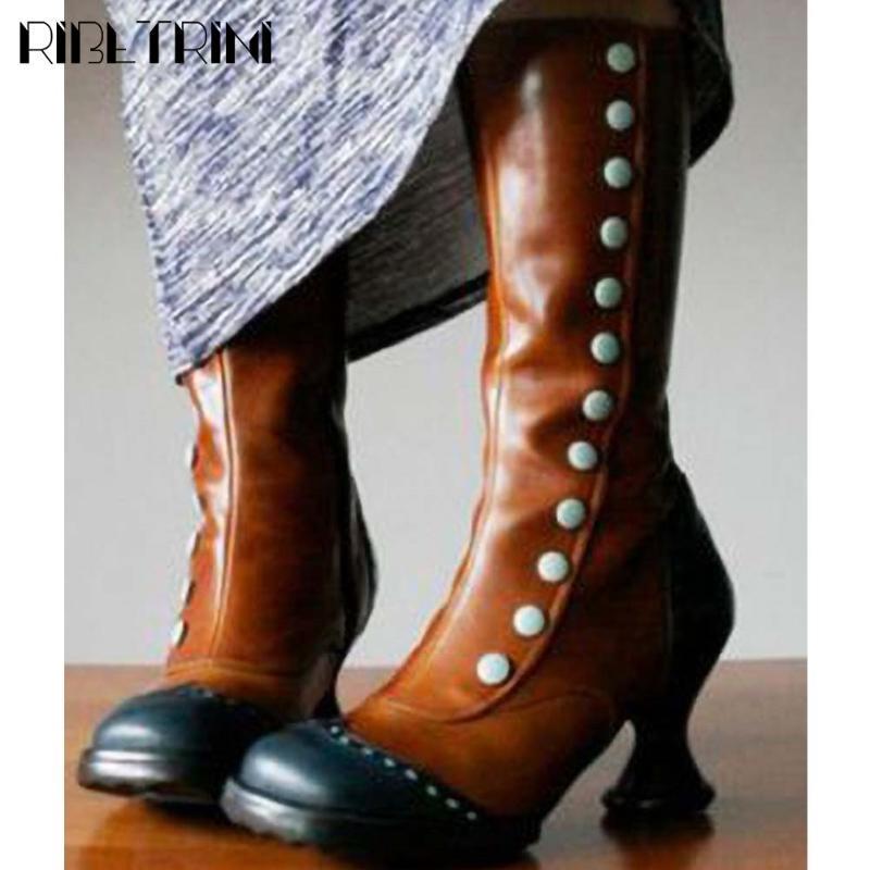 Rodada Toe RIBETRINI Retro menina Salto Alto doce cor do outono sapatos Mixed mediana Cor Calf Mulheres Botas Botas Designer 2020