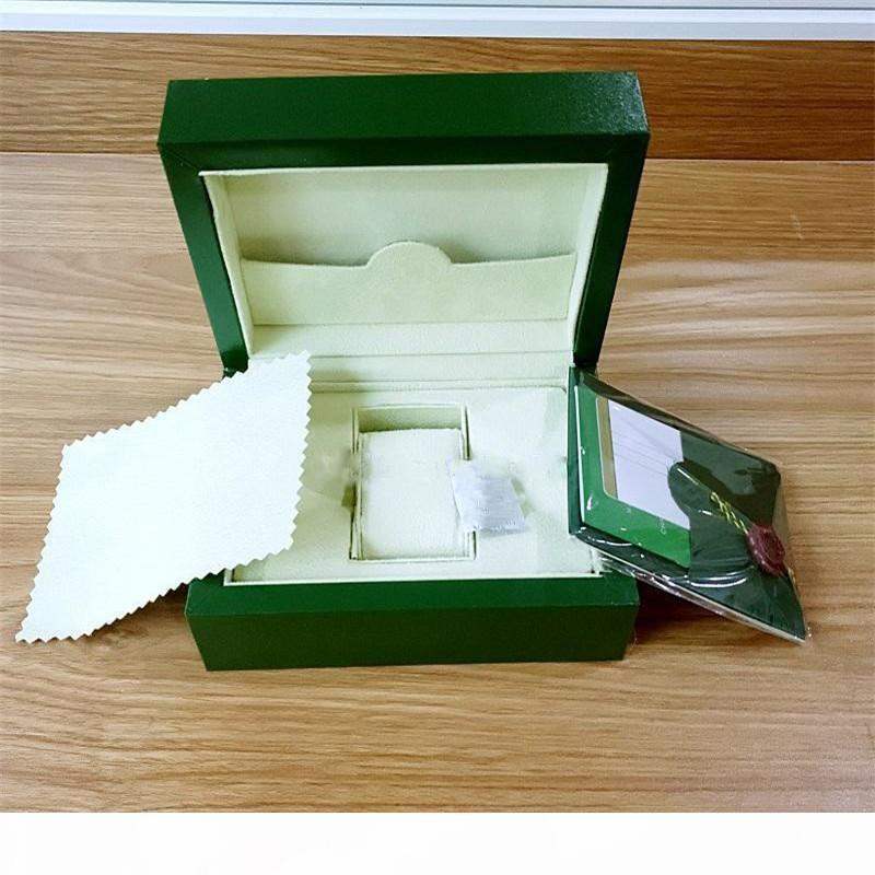 2020 Freies Verschiffen Uhr Mens Für ROLEX-Uhr-Kasten Innen Außen Womans Uhren Box Mann-Armbanduhr Green box Broschüre Karte 5820