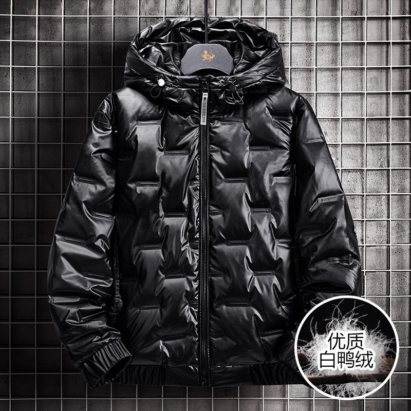 Homens 2020 New coreano estilo moderno brilhante Inverno Duck Down espessamento tridimensional jaqueta de homens com capuz Bonito