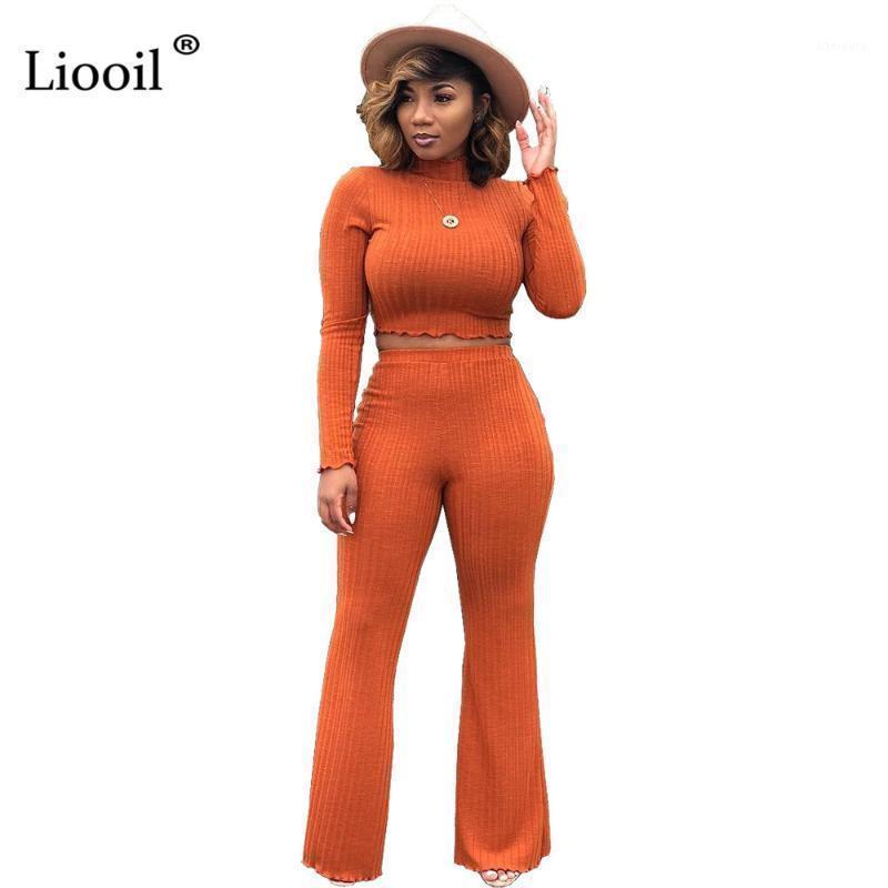 Liooil Colid Sexy Ribbed Bodycon Две частей Набор Party Club Outfits с длинным рукавом Урожай и длинные брюки Сопоставляющие наборы для женщин1