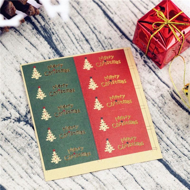Décoration de Noël Kraft Paper Cuisson Cuisson Packaging Sticker Arbre De Noël Elk Snuking Doyting Nouvel An Stickers Cadeaux Stickers F8YJ #