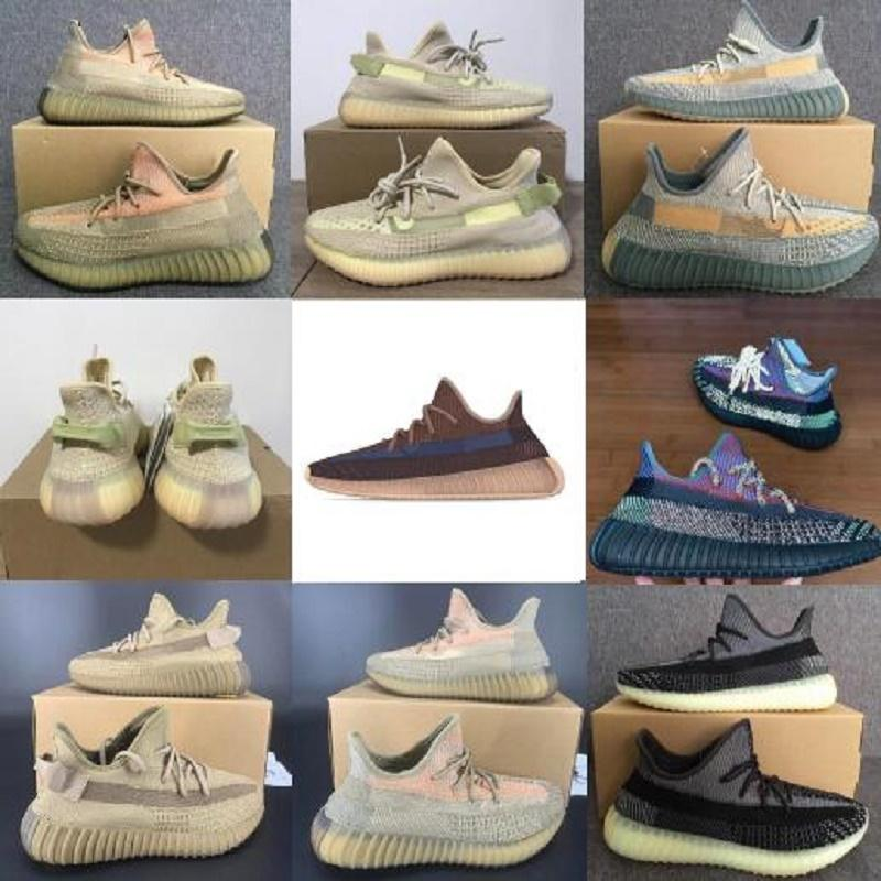 2020 Kanye West Schuhe Cinder Yecheil Asriel Static Triple Black Reflective Stylist Turnschuhe Wüstensalbei Zebra US 13 Laufschuhe Schuh