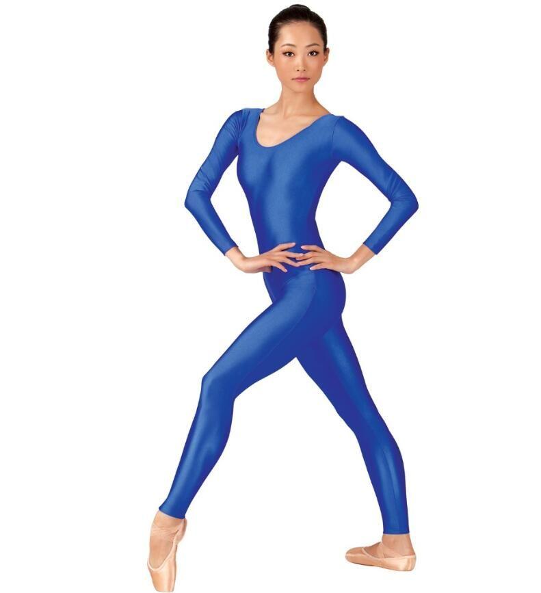 Speerise femmes brillantes manches longues danse de danse d'étirure d'étirement adultes Spandex Gymnastics UNITARD Noir Plein Body Dancewear Catsuits Fille