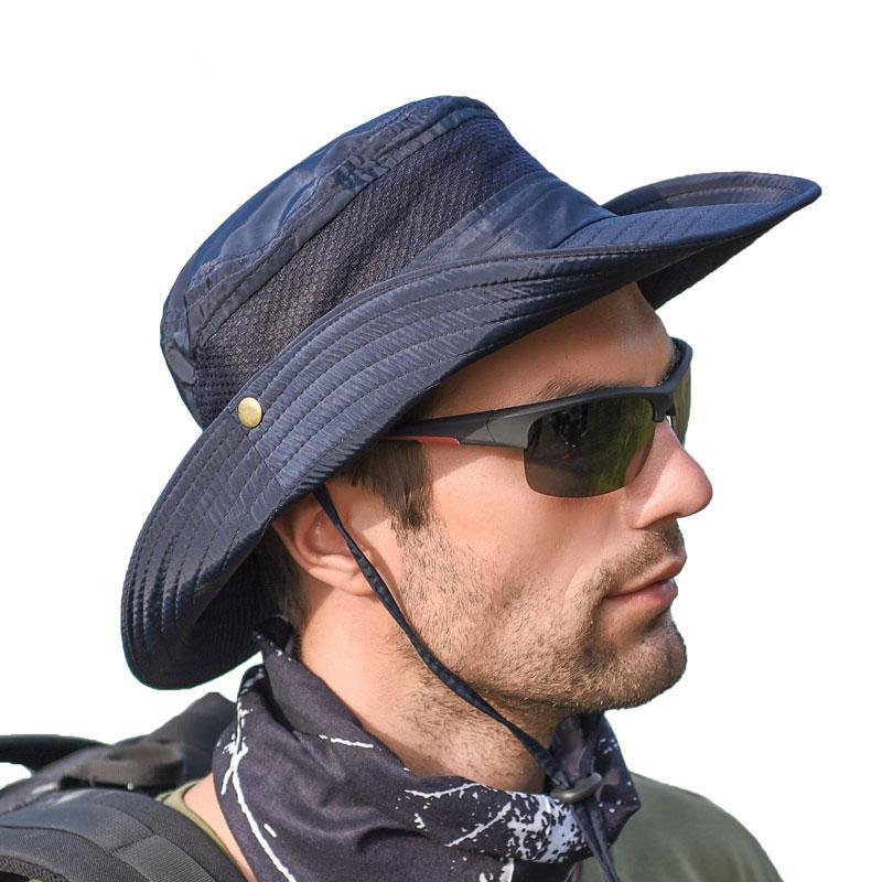 Chapeaux de soleil pour hommes Pliable large protection UV Brim été Chapeaux pour femmes Randonnée Pêche maille respirante extérieure Sunhat WH104