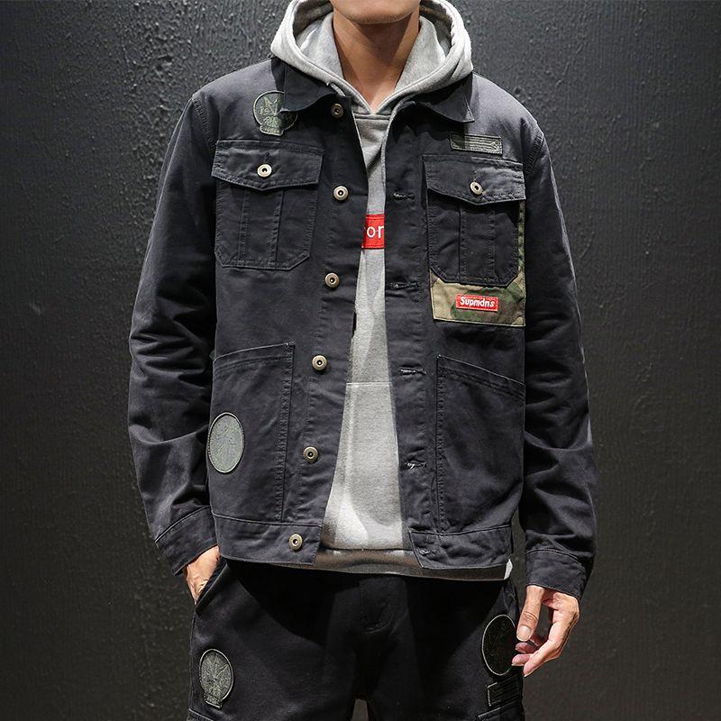 YASUGUOJI New 2019 Japan Style Jeans Veste Mode Vintage Noir Mens Denim Veste Streetwear lâche Patch Denim Jacket Men C1108