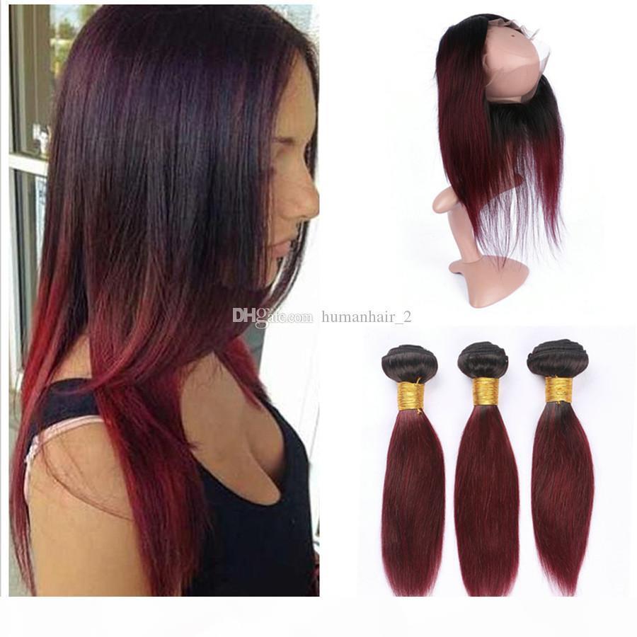 Malaisien Vierge Human Cheveux 3 Bundles avec 360 Dentelle Fermeture Frontale Deux Ton 1b Vin rouge Ombre Cheveux avec 360 Frontaux en dentelle 4pcs
