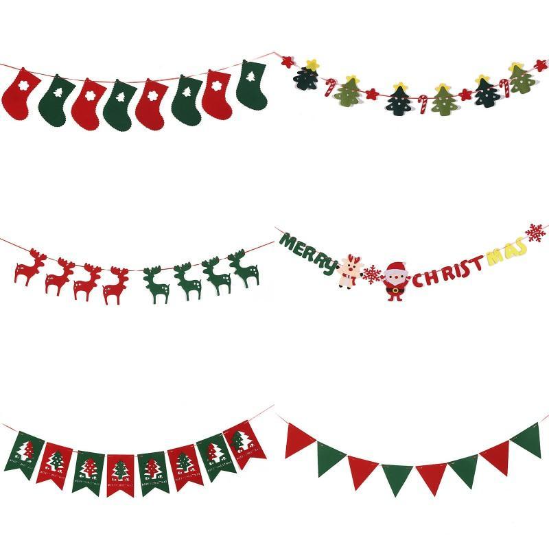 Christmas Felt Bandeira DIY Guirlandas Xmas Elk Sock Bandeiras do bebê da festa de casamento Feliz Natal Bunting Decoração chuveiro de teto