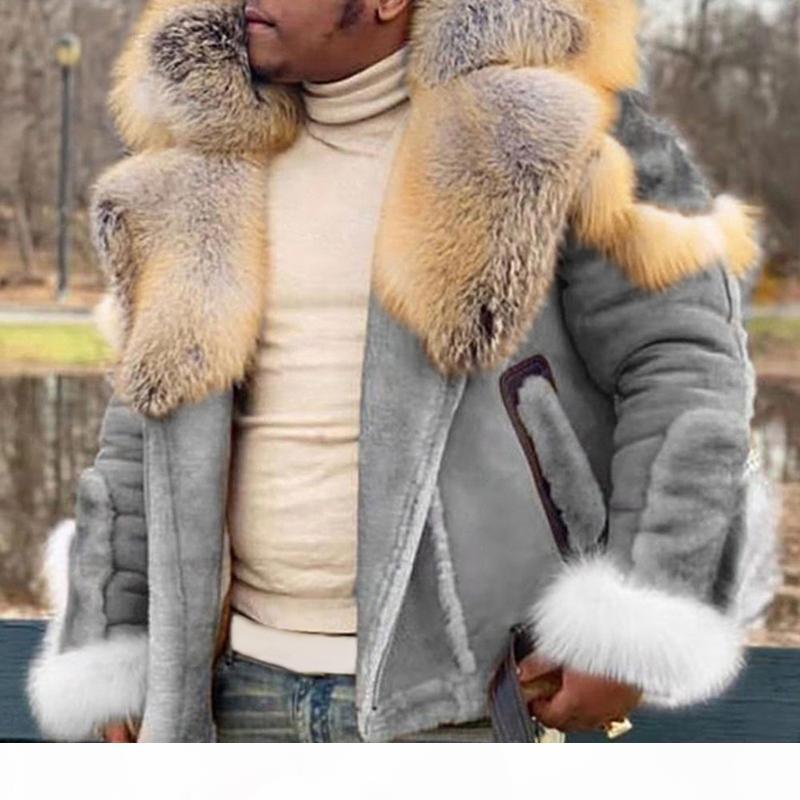 Homens Casacos Nova Moda Grosa para Faux Inverno Camurça Quente Big Zipper Colar de pele de manga comprida Outdoor Casual Casual Overcoat Tops