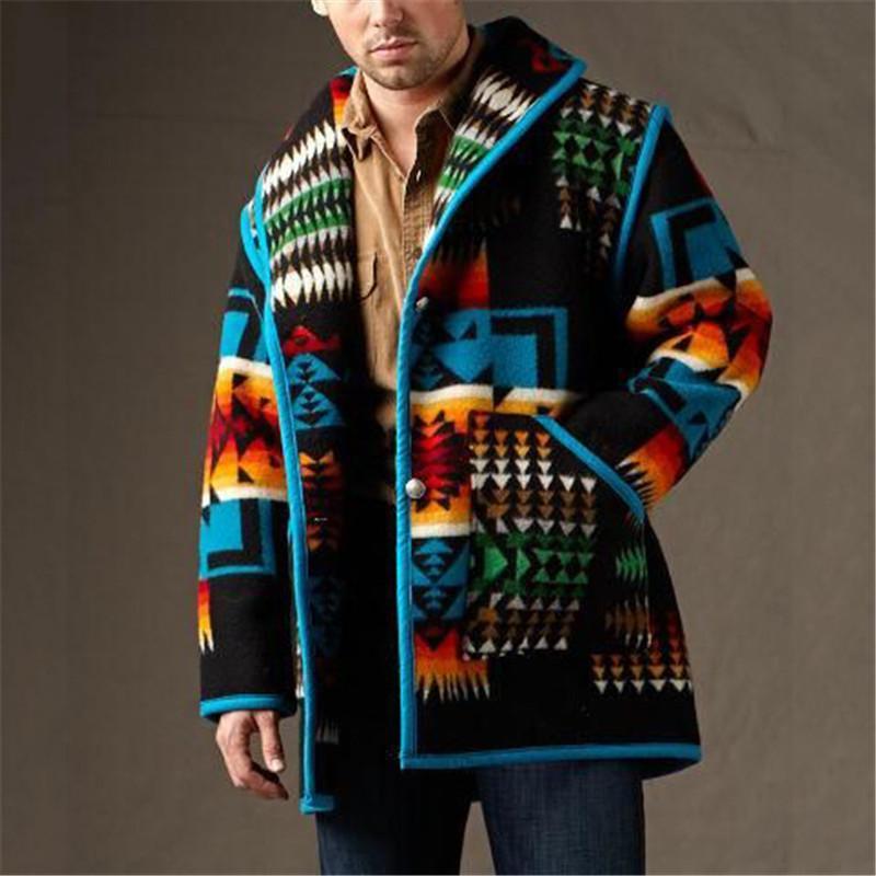Горячей продажа печатной Мужской моды пальто шерстяной INS Стиль Casual Men Jacket высокого качество зима осень на склад