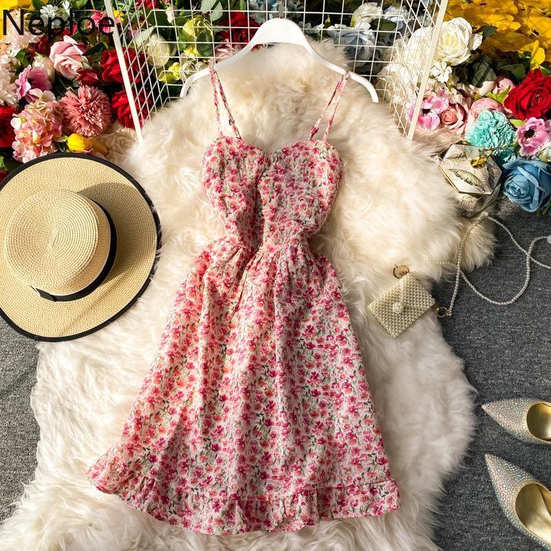 Abiti casual Neploe Flower Print Dress Dress Donne Donne francese con scollo a V senza maniche Camis femme Fashion Ruffles High Waist Ladies Vestidos 1D449