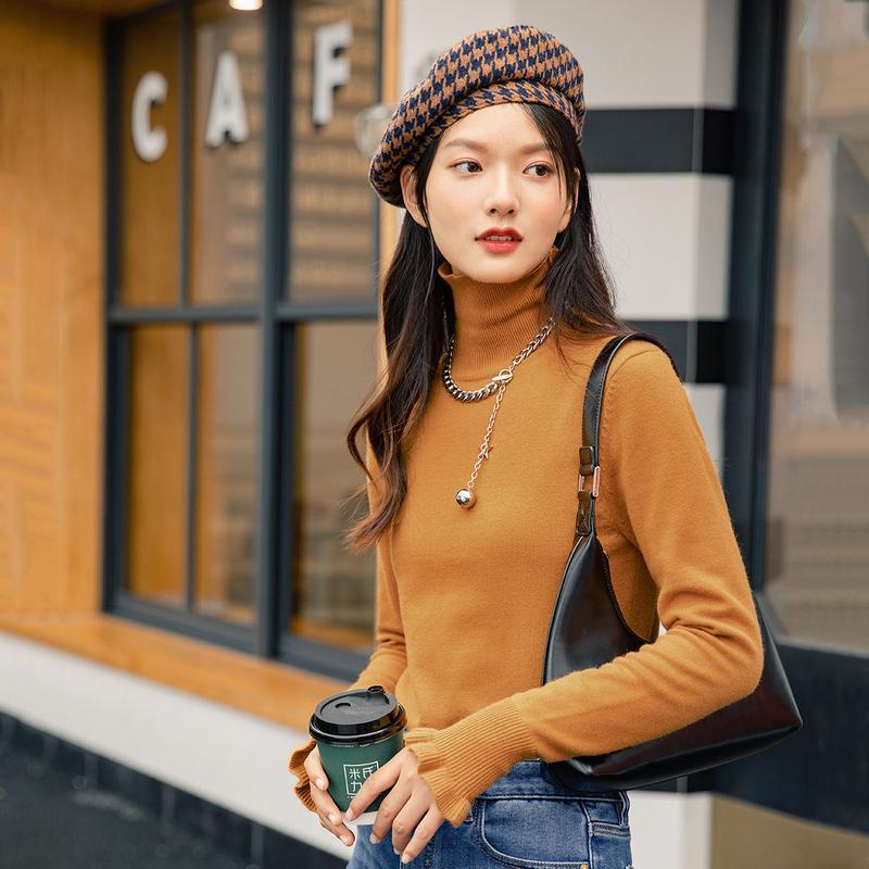 INMAN 2020 maglione di inverno Nuovi arrivi Pure Color Versatile termica a collo alto con maniche lunghe con cappuccio Slim Bottomed Knit Women