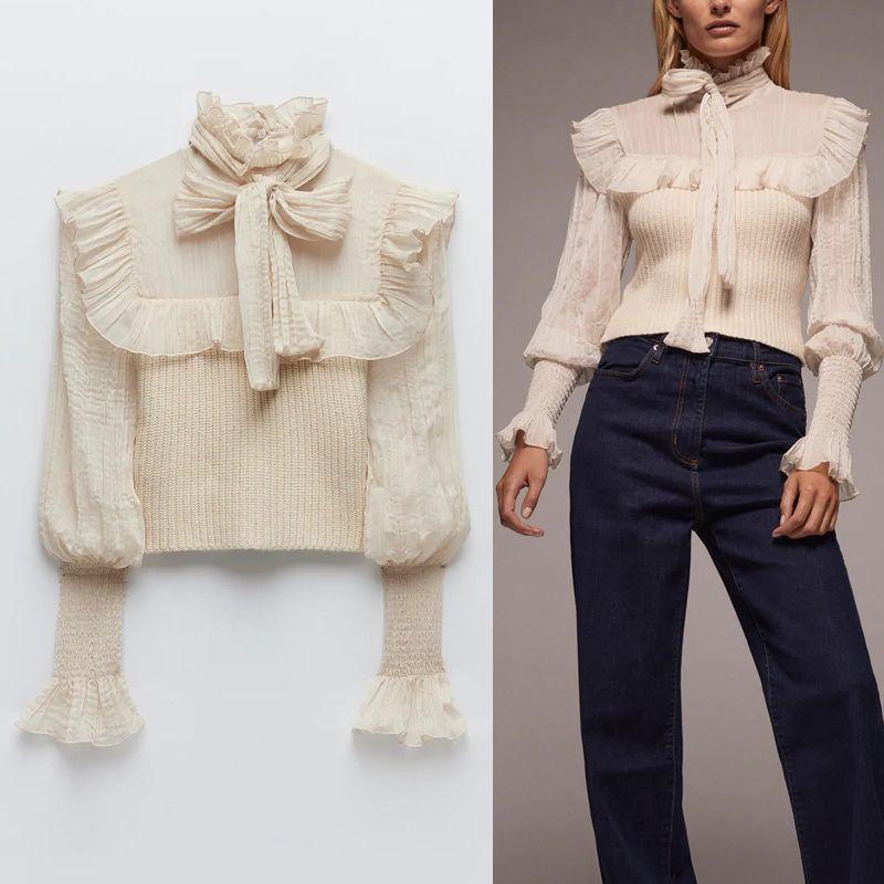 Za Лучшие Женщины Contrast органзы Лоскутная Обрезанные вязаный свитер женщина 2020 Мода Высокая шея Лук Связанный с длинным рукавом рябить блузка