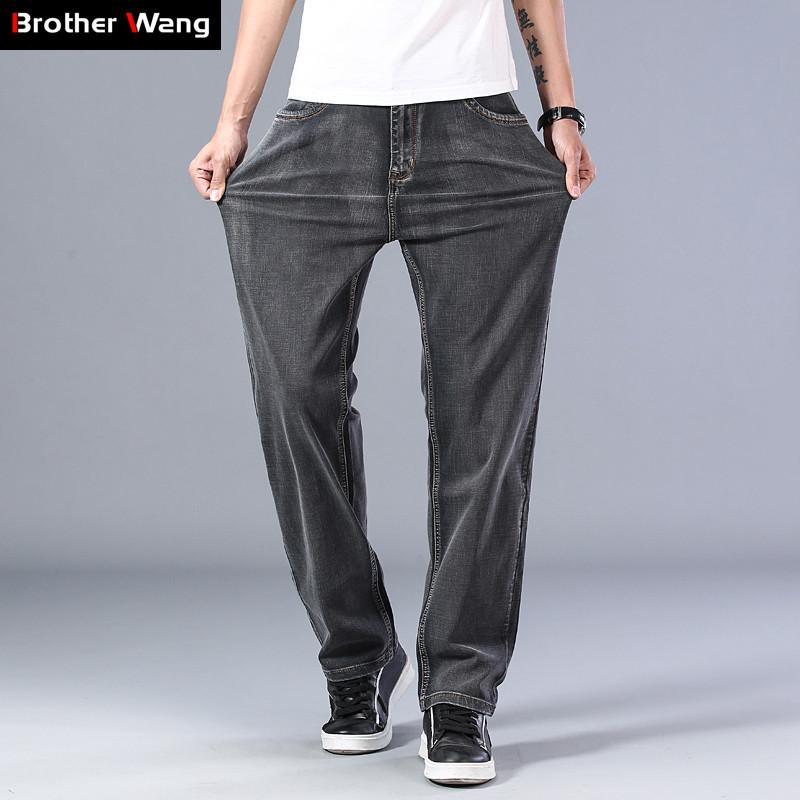 2020 весной и летом новый мужской серый Тонкие джинсы Расширенный Stretch свободные прямые брюки джинсовые Мужской Плюс Размер 40 42 44 Марка 1006