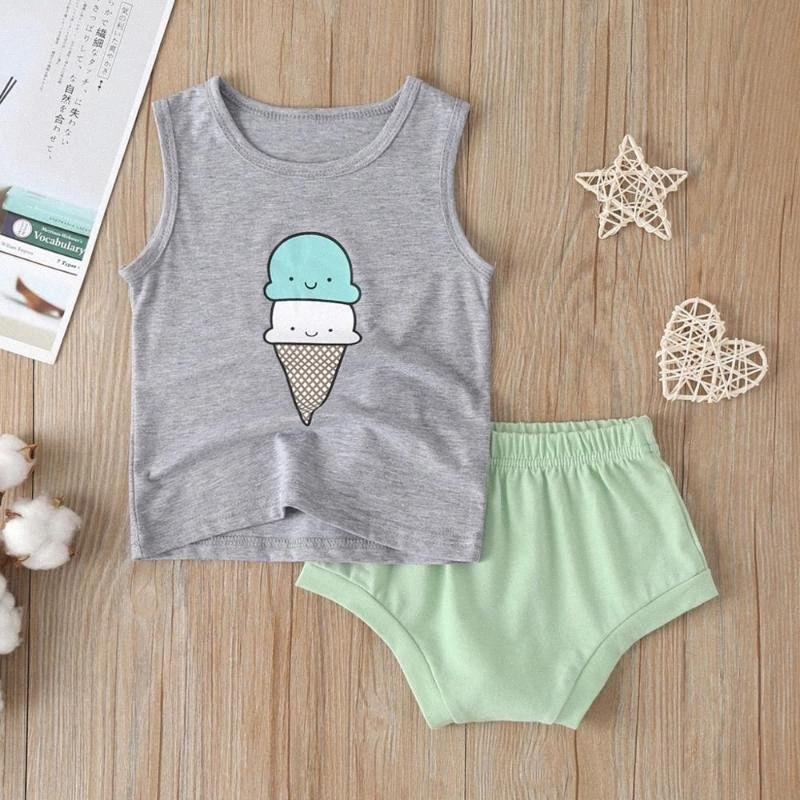 Niño del bebé muchachas de los muchachos de helado de dibujos animados de impresión Chaleco Tops + Shorts Trajes para bebé de moda de verano la camiseta shorts fija ropa CNSM #