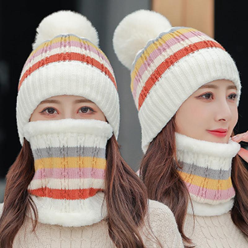 Kış Ponpon Beanies Kadınlar Şapka Eşarp Seti Yetişkin Boyut Sıcak Bere Patchwork Kalın Örme Kafatası Cap IIA788
