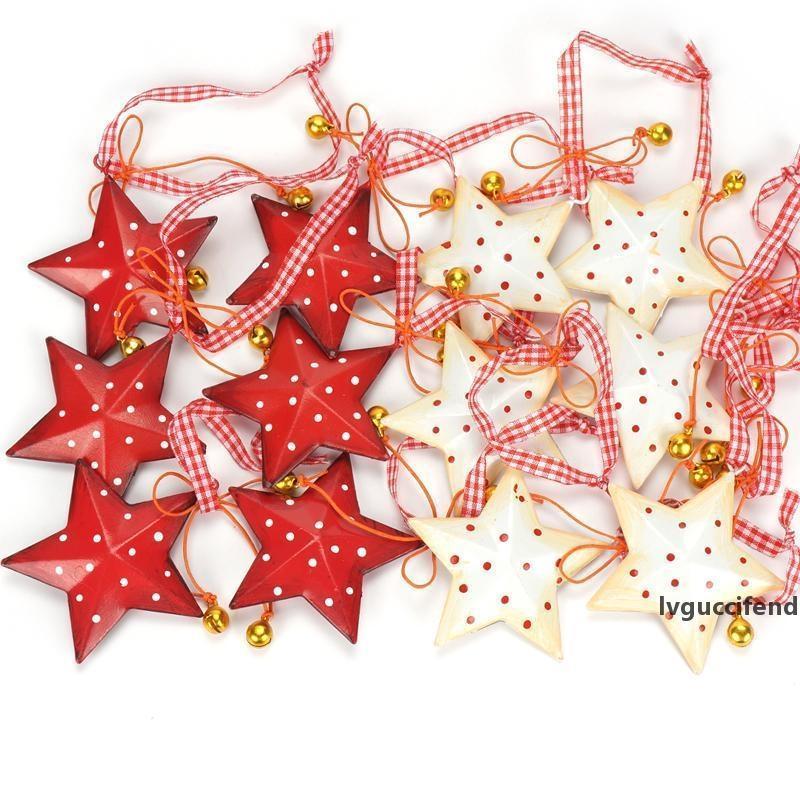 Новогодние украшения 12pcs Metal Star Урожай с колокольчика украшения рождественской елки с Рождеством для дома висячие украшения