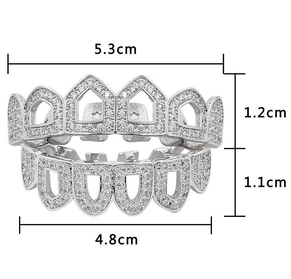 18k Gold Hip Hop Full Diamond Hollow Teeth Grillz Dental Iced Out Fang Grills Braces Tooth Cap Vampire Cospl wmtPIe bdesybag