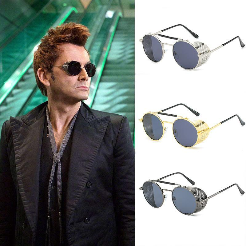 El diablo Good Omens Aziraphale TV Gafas de sol Cosplay New Crowley Steampunk Omen Glasses PROP EPCJA