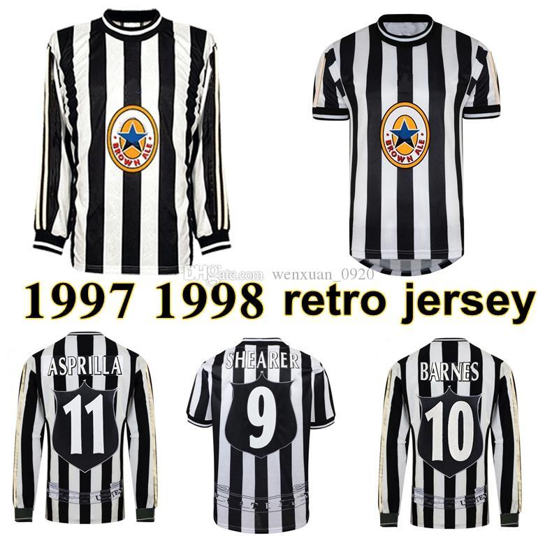 1997 1998 Shearer Pearce Batty Retro Soccer Jersey 97 98 Asprilla John Barnes Ian Rush Albert Vintage Camisa de Futebol Clássico