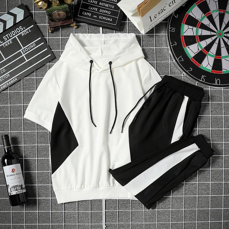 2020 Männer Set Sportswear Mode 2020 Herren Kleidung Schwarz Weiß Männer Hoodies + Streetwear Hose Casual Trainingsanzüge Männliche Track Anzug1