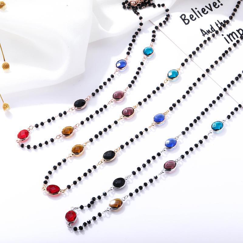 Bohemia Colorido Zircon Black Crystal Beads Collar de cadena para las mujeres Cadena de oro CZ Gargantilla Collar Joyería de moda de las mujeres Colar1