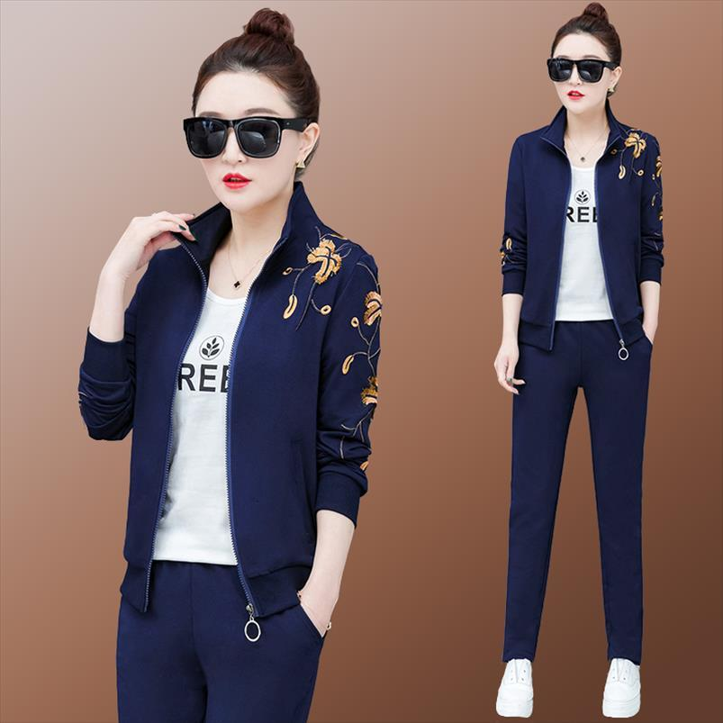 Femenino 3 piezas Set Mujeres Conjunto Trajes Traje Pantalones de moda Trajes 2021 Nueva Ropa de Corea Otoño Ropa de otoño para mujer