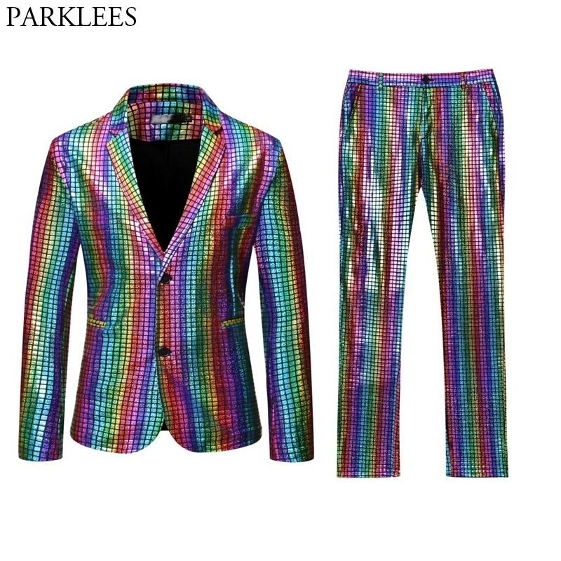 Hommes Stage Bal Costumes Gold Argent Rainbow Plaid Jacket Pantalon Pantalons Hommes Dance Festival Christmas Halloween Costume Homme 201105