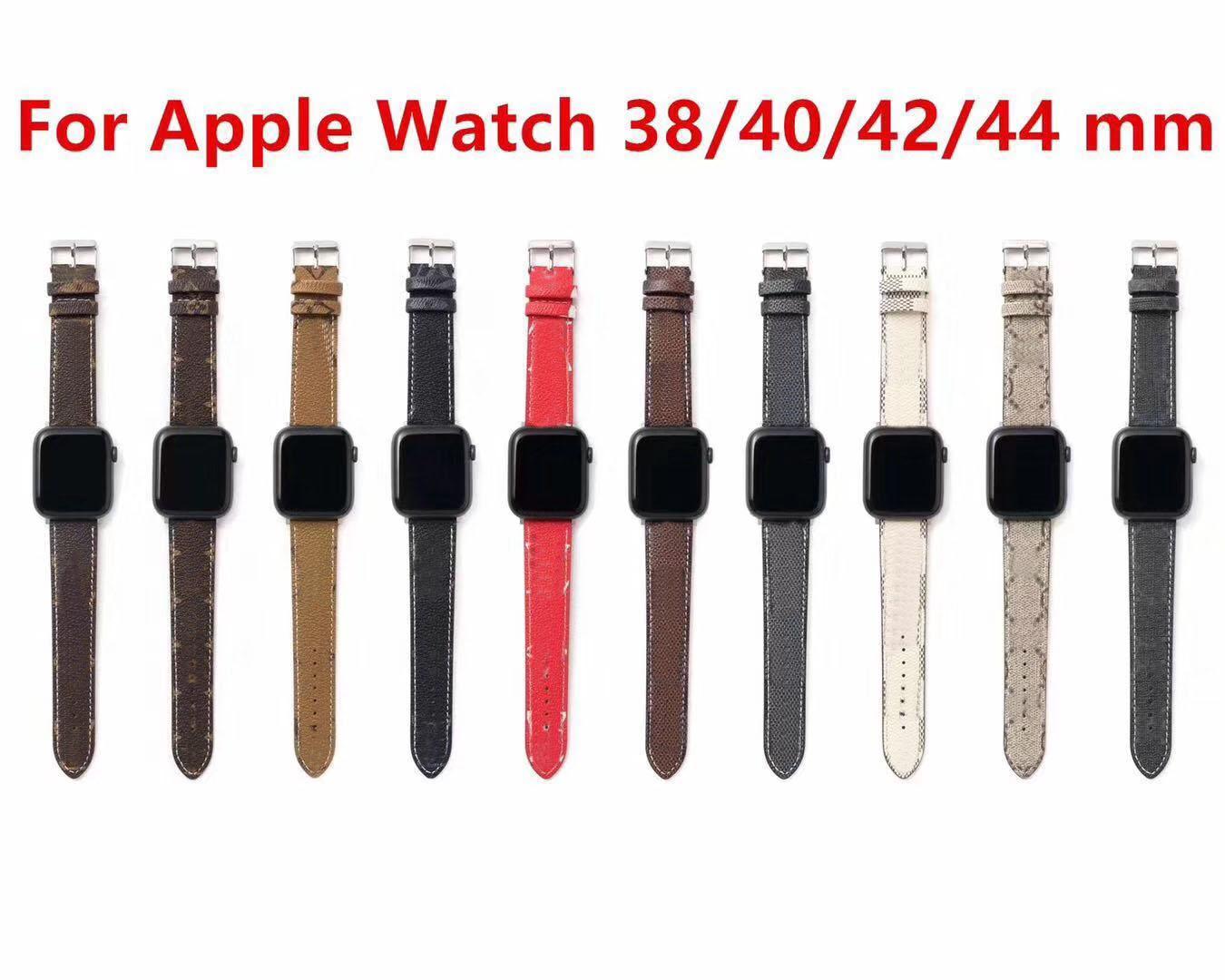 럭셔리 디자이너 워치 밴드 시계 밴드 42mm 38mm 40mm 44mm iwatch 2 3 4 5 밴드 가죽 스트랩 팔찌 패션 줄무늬 시계 밴드